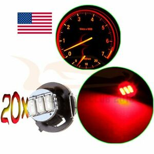 20pcs Bright Red T4 T4 2 Neo Wedge Led Bulb Dash A C Climate Control Light Lamp