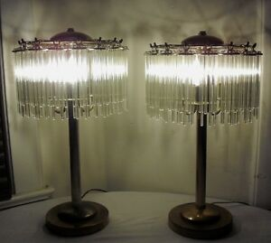 Pair Of 1960 S Mid Century Brass Hanging Crystal Table Lamps
