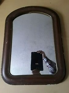 1800 S Antique Oval Top Wood Frame Primitive Cottage Wall Mirror 21 75 X15 75