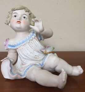 Antique German Bisque Porcelain Piano Baby Girl Butterfly Excellent 10