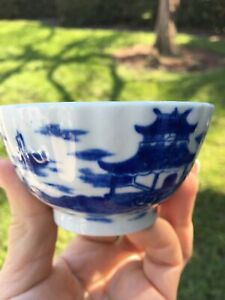 Pretty Chinese Qianlong Blue White Porcelain Pagoda Birds Ships Tea Bowl Cup