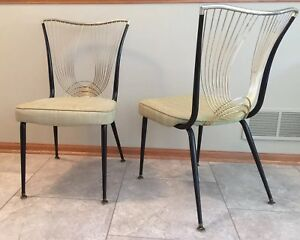 Vtg Virtue Bros Of Ca Mcm Sculptured Back Dining Chairs 1956 Set Of 2