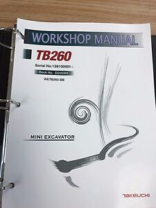 Takeuchi Tb260 Mini Excavator Workshop Service Repair Manual