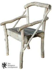 Antique French Woodland Twig Arm Chair Rustic Primitive Lodge Furniture Folkart