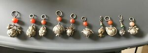 10 Chinese Sterling Silver Charms Pendant Bell Carnelian Agate Carved Bead