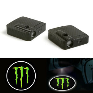 2 Courtesy Monster Energy Car Logo Door Ghost Shadow Laser Projector Light Led