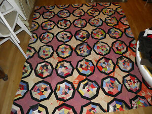 Antique Vintage Handmade Quilt Top Amazing Fabrics Pattern Very Old See Photos