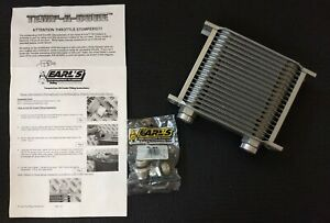 Nos Earl S Temp A Cure 19 Row Plate Type Aluminum Oil Cooler 10 An 21910erl