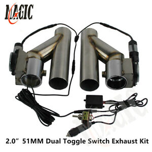 2 Dual Electric Exhaust Cutout Downpipe Dump Bypass Valve W Switch Control Kit