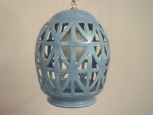 Vintage Ceramic Swag Lamp Mid Century Modern Lighting Blue Light