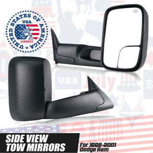 L R Fits For 1998 2001 Dodge Ram 1500 2500 3500 Power Heated Tow Side Mirrors