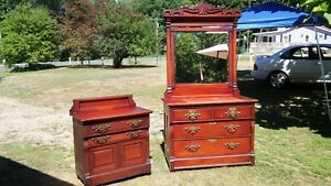 142 Year Old Victorian Cherry Bedroom Set C 1877 Original With Drawer Key