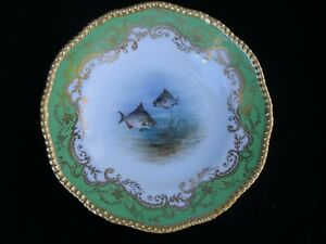 Antique Coalport Bream Hand Painted Fish Plate Chartreuse Rim Gold Scrolls