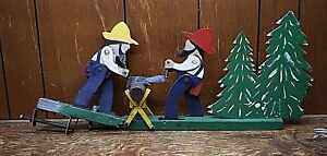 Vintage Wood Whirligig 2 Men Cross Saw Sawing Cutting Folk Art Farm Weathervane