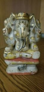 Antique Carved Marble Indian Statue Of The God Ganesha Hindu Figurine