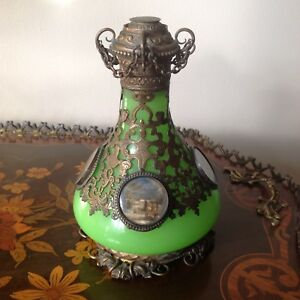 Antique Green Opaline With Bronze Filigree Mounted Perfume Bottle