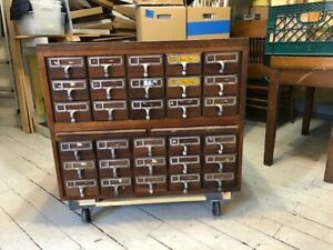 Card Catalog Cabinet Wood Vintage Library