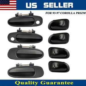 Door Handle Black Outside Inside Front Rear Set Of 8 For 93 97 Corolla Prizm Us