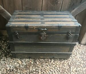 1860 S Flat Top Steamer Trunk Antique Vintage Trunk Treasure Chest