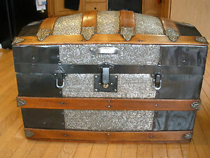 Late 1800s Humpback Dome Steamer Trunk Floral Tin Pattern