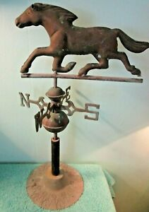 Vintage Antique Copper Brass Weather Vane Horse N E W S Desk Stand Patina