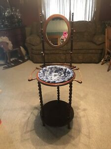 Antique Wooden Wash Stand With Mirror Candle Stick Dark Wood Blue Bowl