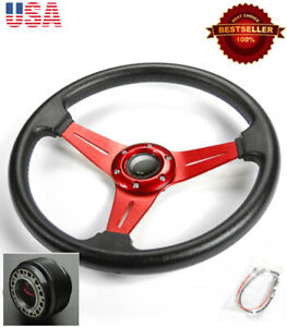 13 5 Red Brushed Spokes Steering Wheel Horn Button W Hub Fit Honda Acura