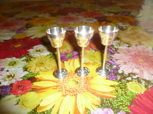 Set Of 3 France Sterling Silver Cordial Glass Shot Cup Goblet