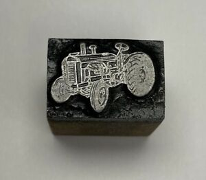 vintage Tractor Letterpress Printers Block Zinc Plate On Solid Wood