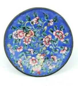 Antique Chinese Canton Enamel Over Copper Dish Plate Ashtray Blue Violet Flowers
