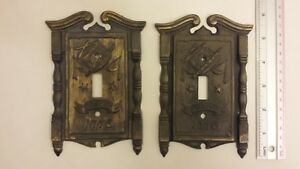 2 Fyfe Drum Vintage 1968 American Tack Hdwe Co Brass Switch Plate Covers 1776