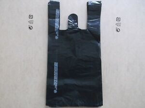 1500 Ct Plastic Shopping Bags T Shirt Type Grocery black Small Size Bags