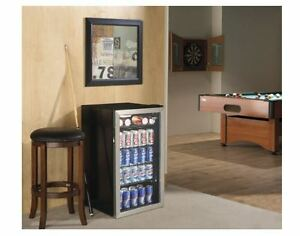 Beverage Refrigerator Cooler Compact Fridge Mini Bar Beer Soda Can Glass Door