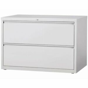 Hirsh Hl8000 Series 42 2 Drawer Lateral File Cabinet In Light Gray