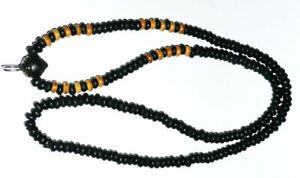 Antique Thai Necklace Amulet Black Brown Wood Beads One Hook For Buddha Pendant