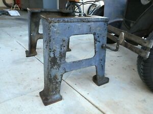 Vintage Industrial Legs Machine Lathe Mill Steel Iron Metal Cast Forged Table