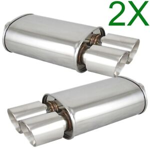 2x Polished Spun locked Exhaust Oval Muffler Double Wall Dual Slant Tip For Bmw