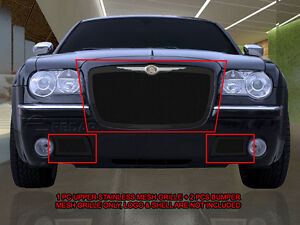 Stainless Steel Black Mesh Grille Combo Insert For 2005 2010 Chrysler 300c