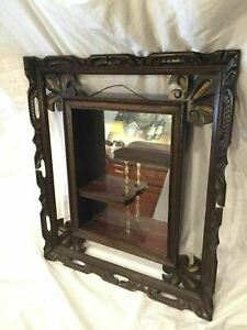 Shadowbox Vintage Wood Hanging Mid Century Modern Curio Framed Mirror Shelf
