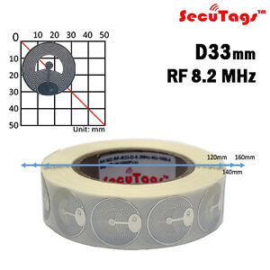 Rf 33mm Silver 8 2mhz Eas Anti theft Security Checkpoint Round Soft Tag 1000pcs