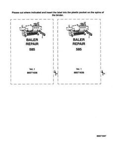 New Holland 585 Baler Complete Service Manual