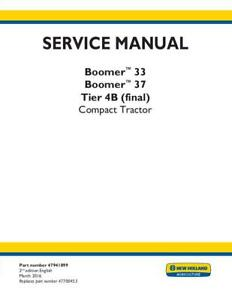 New Holland Complete Boomer 33 37 Tier 4b final Compact Tractor Service Man