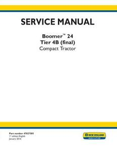New Holland Complete Boomer 24 Tier 4b final Tractor Service Manual