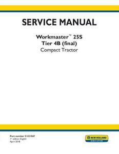New Holland Workmaster 25s Compact Tractor Engine Sm Number 0btn4 en0031 Servic