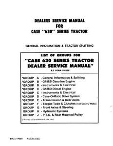 Case Ih 630 Series Tractors Service Manual