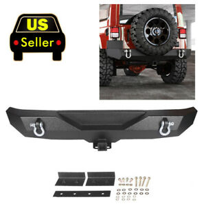 Textured Rock Crawler Rear Bumper 2x D Rings For All 87 06 Jeep Wrangler Yj Tj