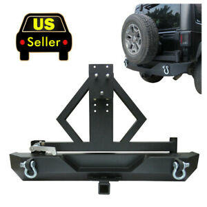 2pcs Rock Crawler Rear Bumper Tire Carrier Set Fit 87 06 Jeep Wrangler Tj Yj