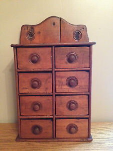 Antique Primitive Spice Cupboard Apothecary Wall Table Cabinet With 8 Drawers