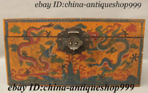 Chinese Wood Lacquerware Dragon Loong Pattern Storage Jewelry Chest Treasure Box