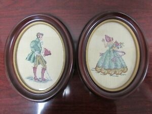 Antique Pair Of 1930s Framed Needlepoint Victorian Man And Woman Bjr2132